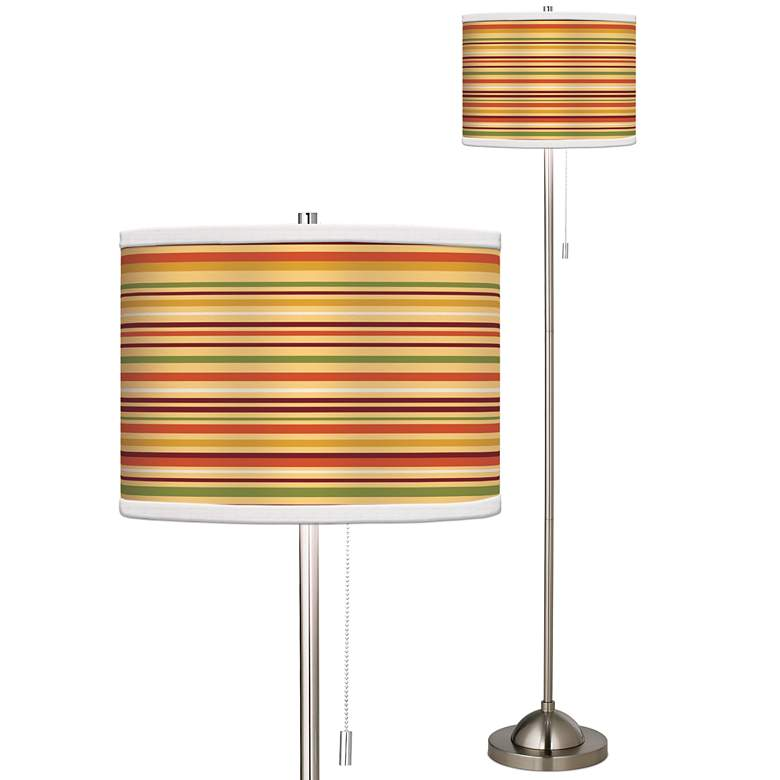 Stacy Garcia Harvest Stripe Giclee Brushed Nickel Floor Lamp
