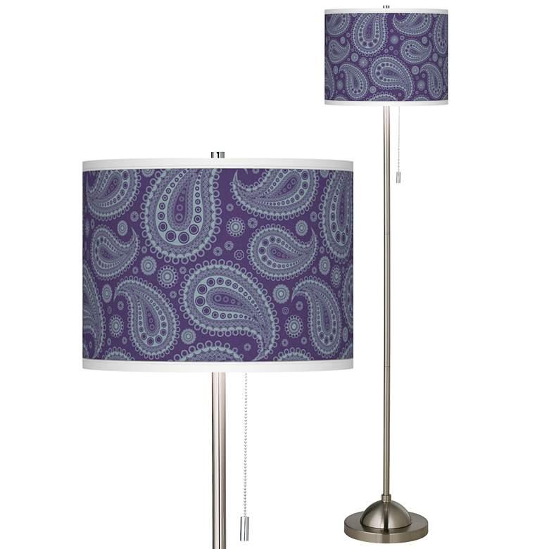 Purple Paisley Linen Brushed Nickel Floor Lamp