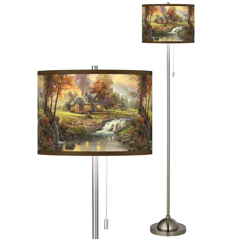 Thomas Kinkade Mountain Retreat Giclee Nickel Floor Lamp