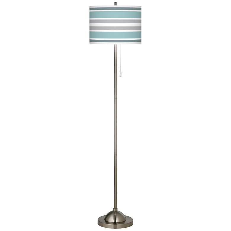 Multi Color Stripes Giclee Brushed Nickel Floor Lamp