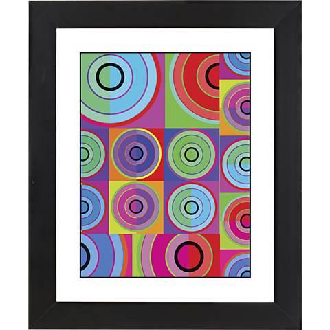"Circle Noise Black Frame Giclee 23 1/4"" High Wall Art"
