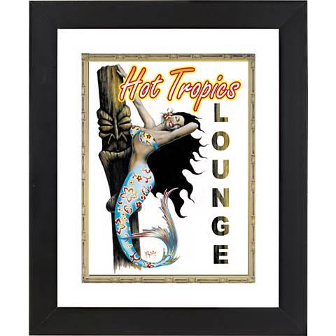 "Hot Tropical Mermaid Black Frame 23 1/4"" High Wall Art"