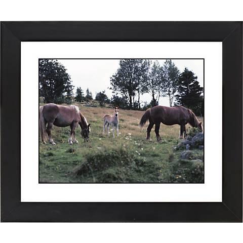 "Horses Black Frame Giclee 23 1/4"" Wide Wall Art"