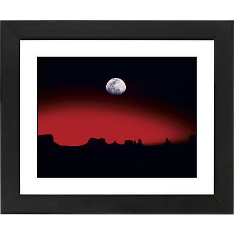 """Moonrise Over Desert Black Frame 23 1/4"""" Wide Wall Art"""