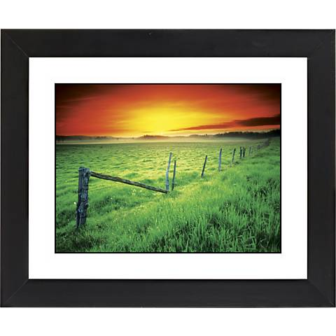 "Sunrise Fenceline Black Frame Giclee 23 1/4"" Wide Wall Art"