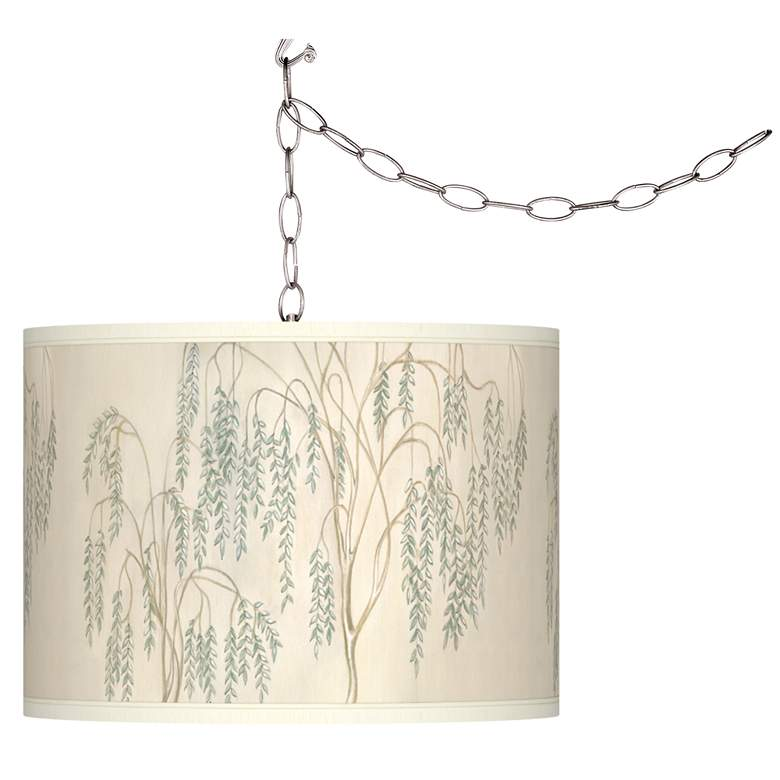 Swag Style Weeping Willow Giclee Shade Plug-In Chandelier