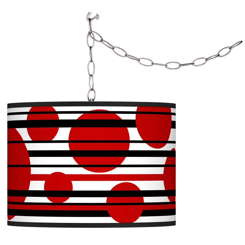 Swag Style Red Balls Giclee Shade Plug-In Chandelier