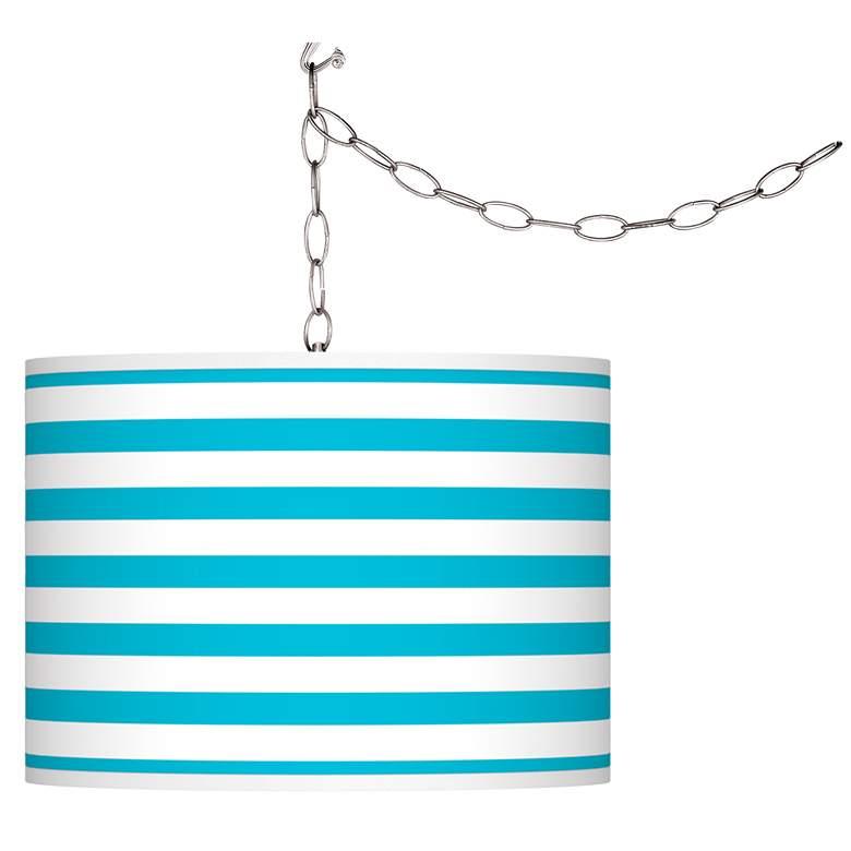 Swag Style Aqua Horizontal Stripe Shade Plug-In Chandelier