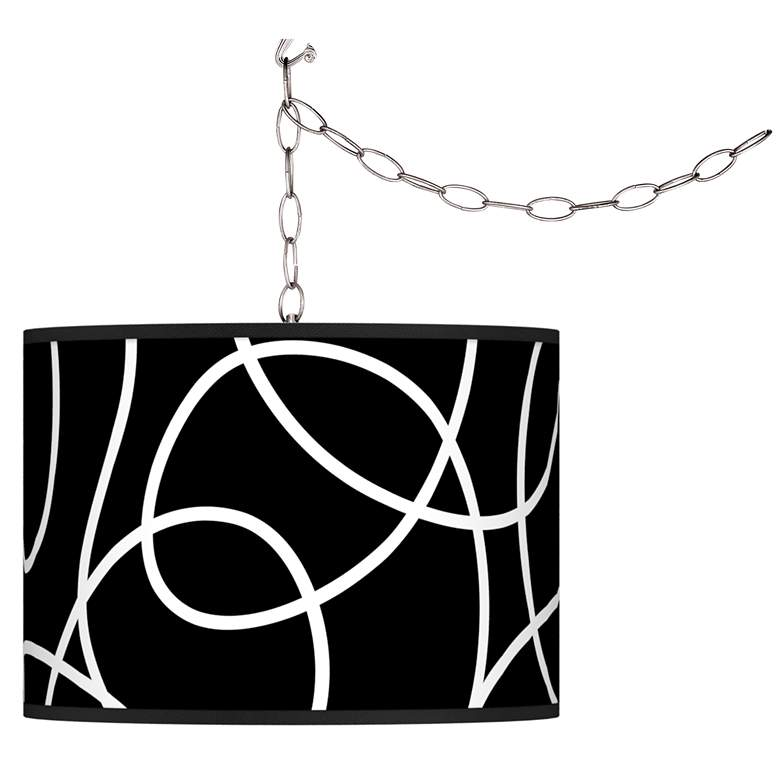 Swag Style Abstract Shade Plug-In Chandelier