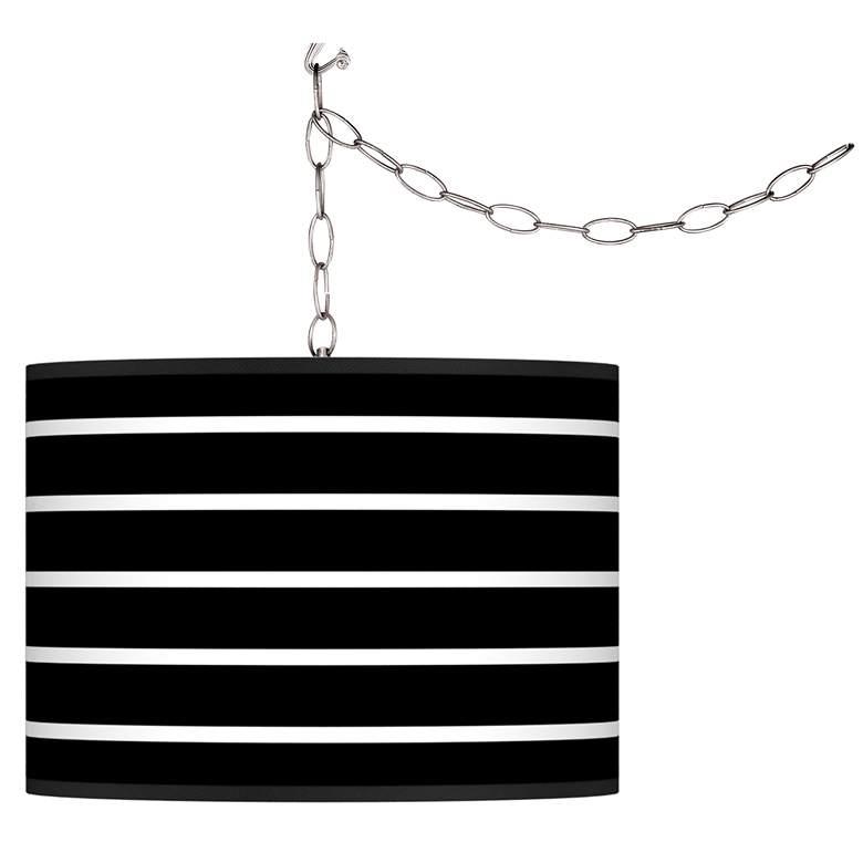 Swag Style Bold Black Stripe Shade Plug-In Chandelier