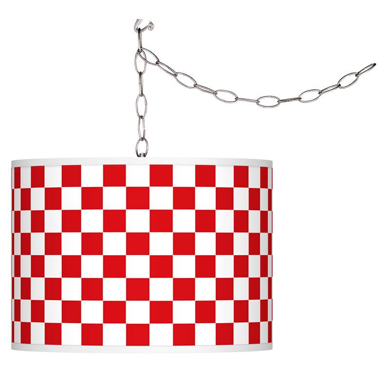Checkered Red Giclee Swag Style Plug-In Chandelier