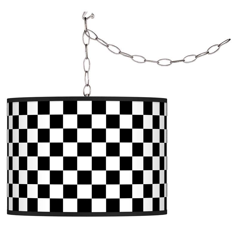 Checkered Black Giclee Swag Style Plug-In Chandelier