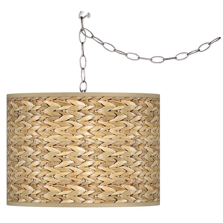 "Seagrass Print Pattern 13 1/2"" Wide Plug-In Swag Chandelier"