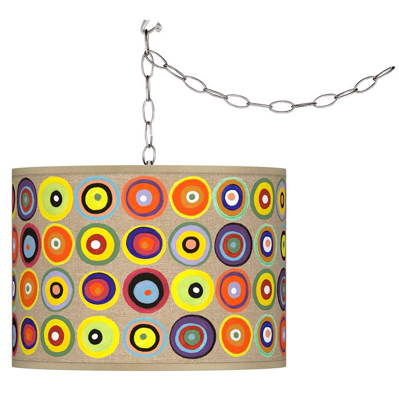 Marbles in the Park Giclee Shade Brushed Nickel Swag Pendant