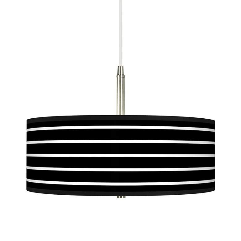 Bold Black Stripe Giclee Pendant Chandelier