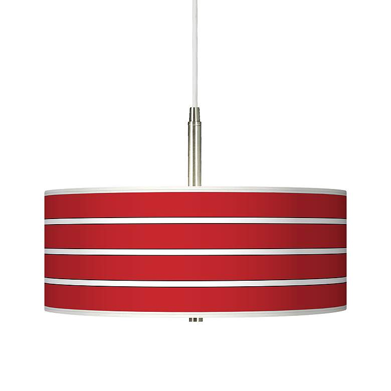 Bold Red Stripe Giclee Pendant Chandelier