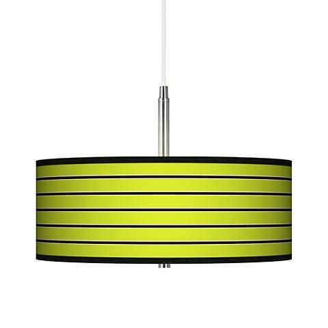 Bold Lime Green Stripe Giclee Pendant Chandelier