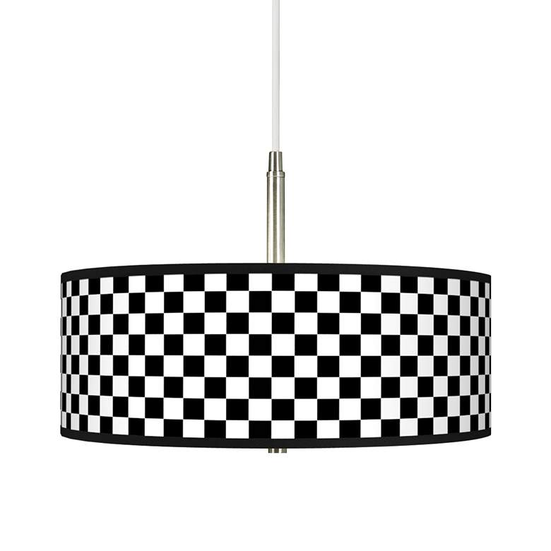 Checkered Black Giclee Pendant Chandelier