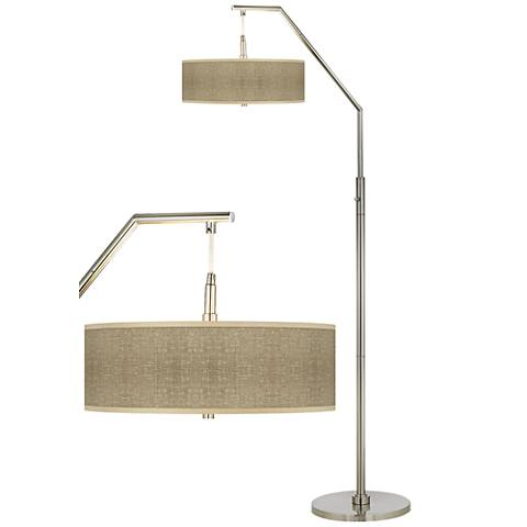 Burlap Print Giclee Shade Arc Floor Lamp
