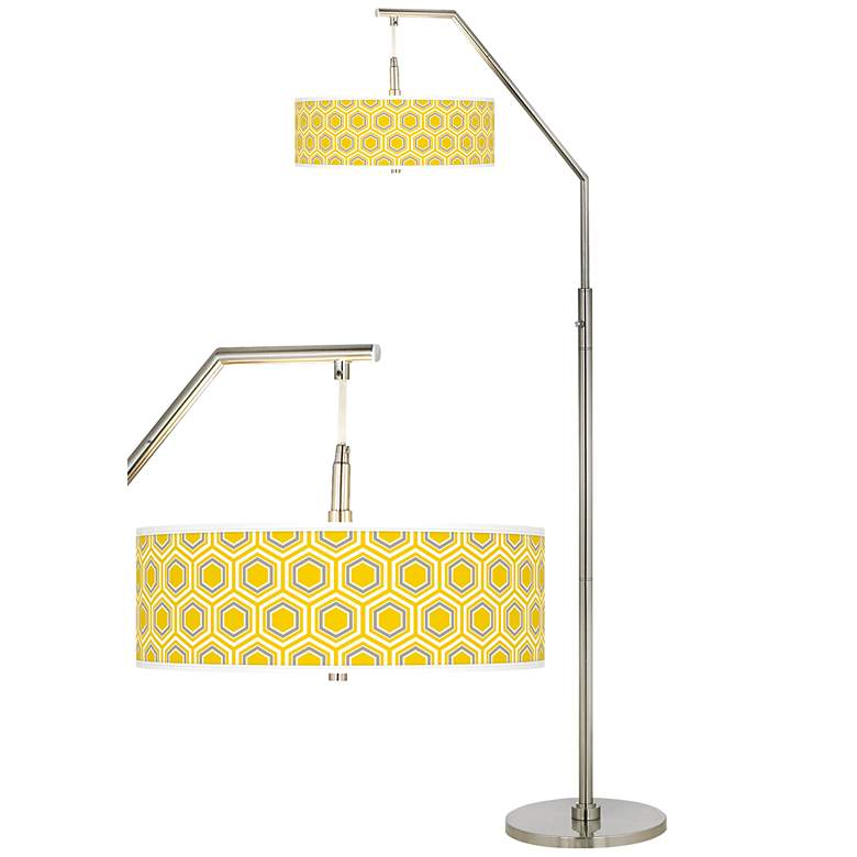 Honeycomb Giclee Shade Arc Floor Lamp