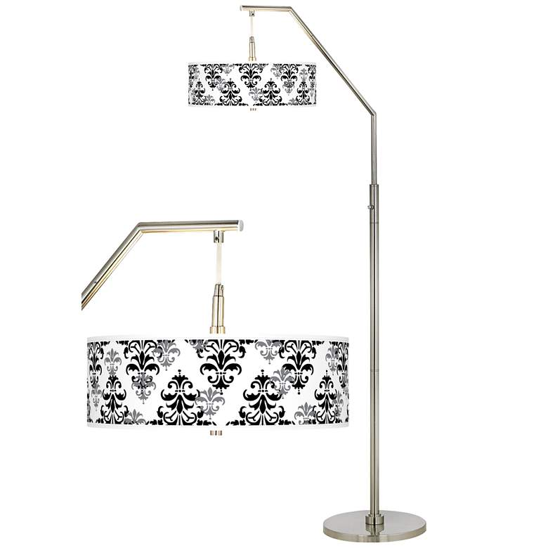 Damask Shadow Giclee Shade Arc Floor Lamp