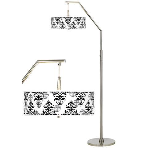 Damask Shadow Giclee Shade Arc Floor Lamp