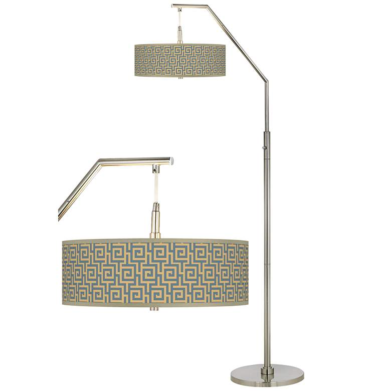 Greek Key Storm Giclee Shade Arc Floor Lamp