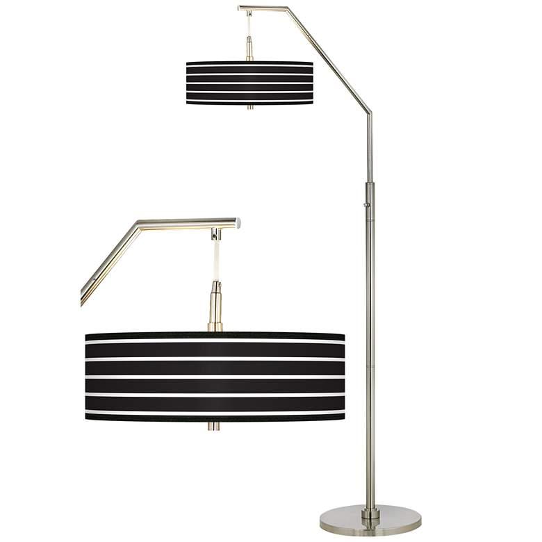 Bold Black Stripe Giclee Shade Arc Floor Lamp