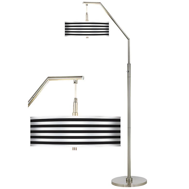 Black Horizontal Stripe Giclee Shade Arc Floor Lamp