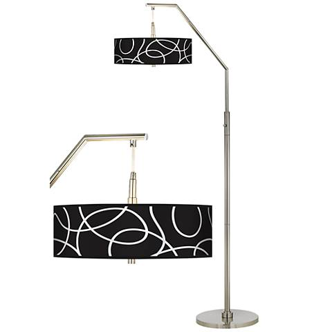 Abstract Giclee Shade Arc Floor Lamp