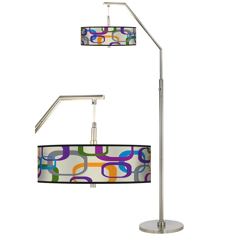 Retro Squares Scramble Giclee Shade Arc Floor Lamp