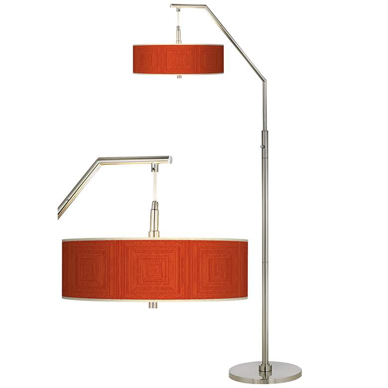 Stacy Garcia Crackled Coral Giclee Shade Arc Floor Lamp
