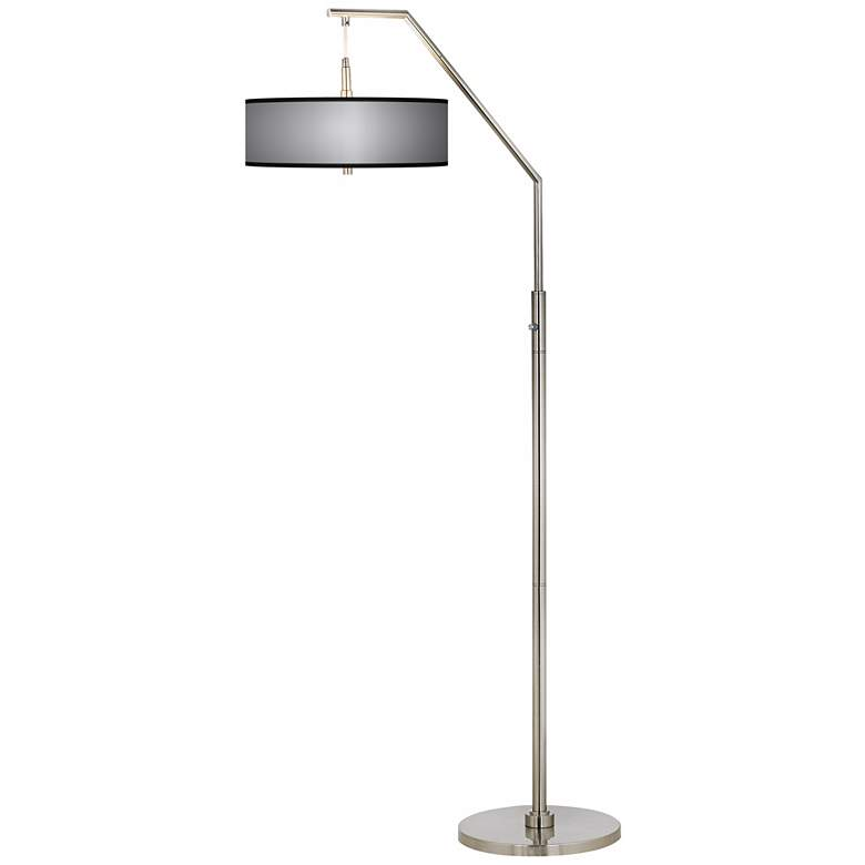 All Silver Giclee Shade Arc Floor Lamp