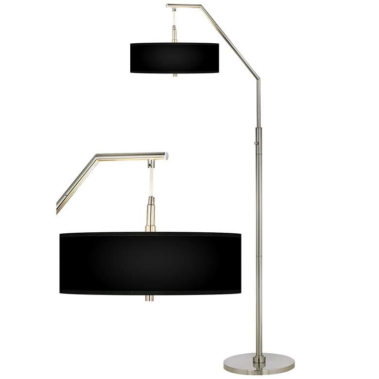 All Black Giclee Shade Arc Floor Lamp