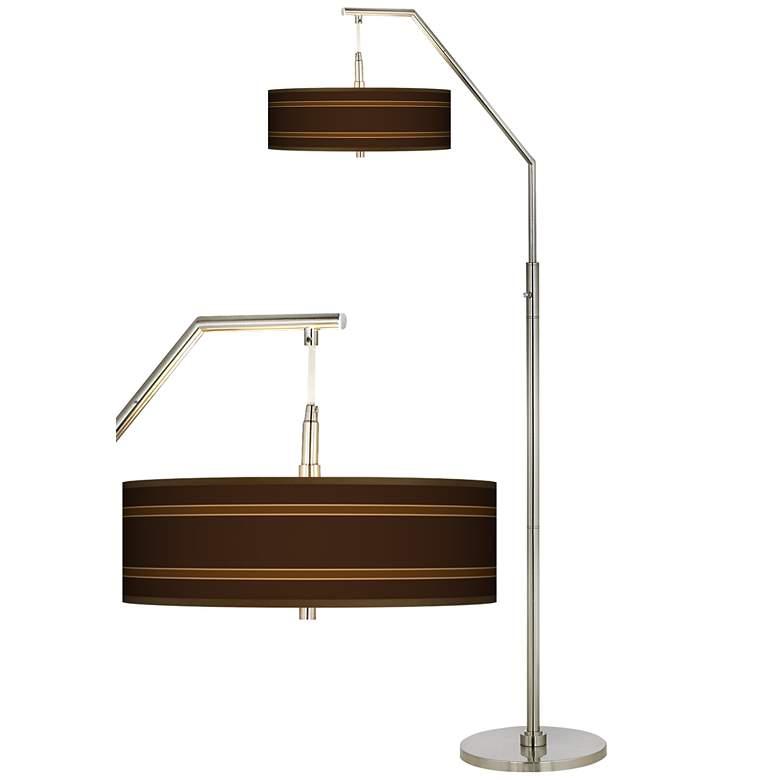 Saratoga Stripe Giclee Shade Arc Floor Lamp