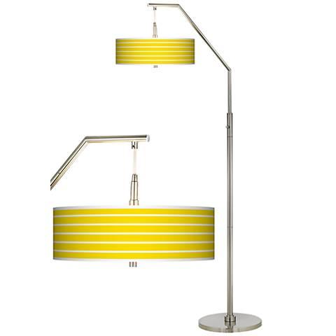 Vivid Yellow Stripes Giclee Arc Floor Lamp