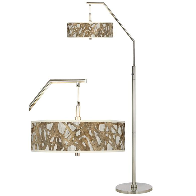 Organic Nest Giclee Brushed Nickel Arc Floor Lamp