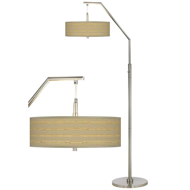 Woven Reed Giclee Shade Arc Floor Lamp