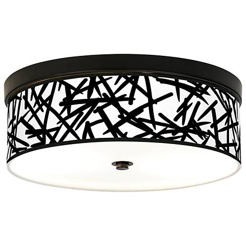 Sketchy Giclee Energy Efficient Bronze Ceiling Light