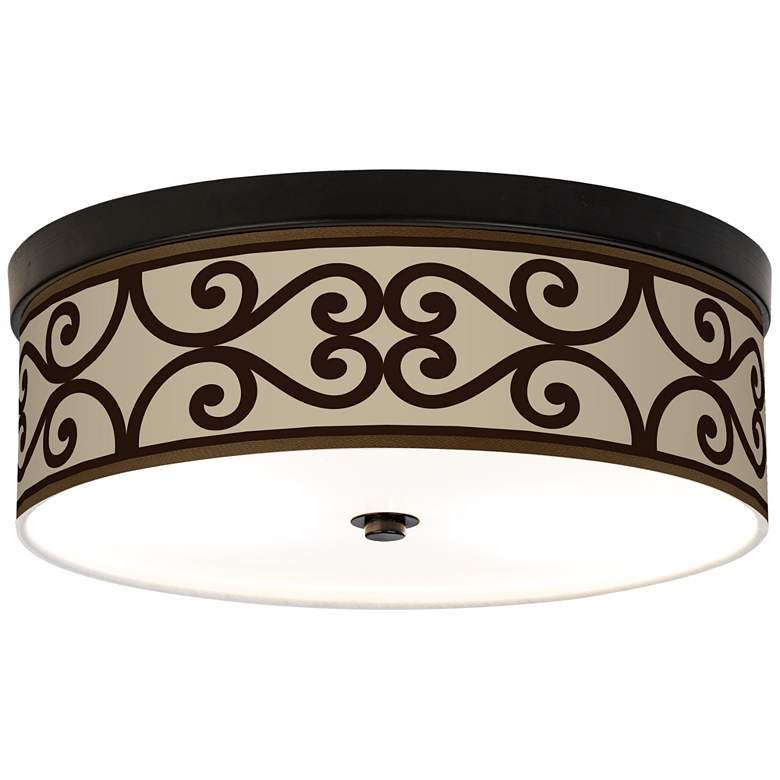 Cambria Scroll Giclee Energy Efficient Bronze Ceiling Light