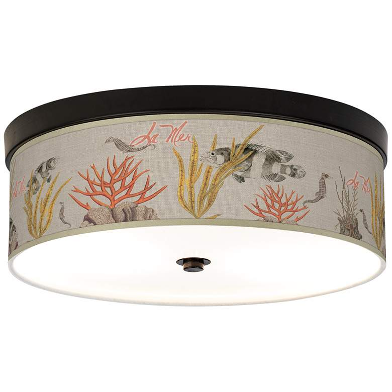 La Mer Coral Giclee Energy Efficient Bronze Ceiling Light
