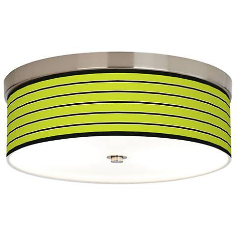 Bold Lime Green Stripe Giclee Energy Efficient Ceiling Light