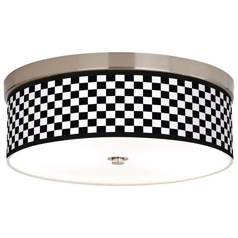 Checkered Black Giclee Energy Efficient Ceiling Light