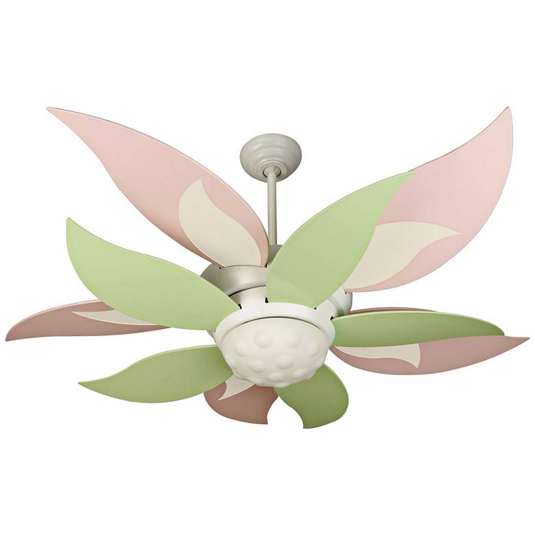 """52"""" Craftmade Bloom Pink and Green Ceiling Fan with Light"""