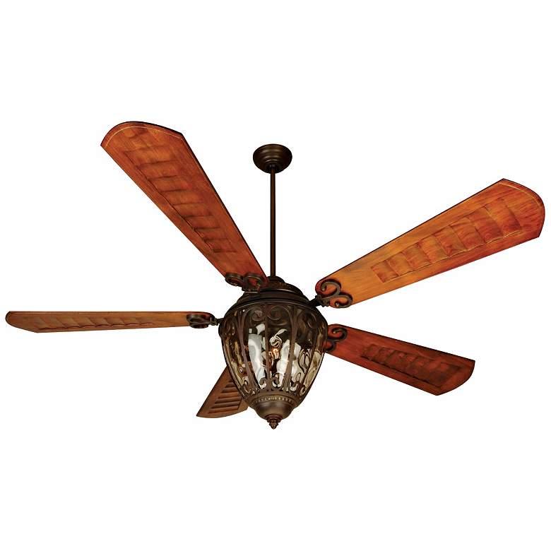"70"" Craftmade Olivier Aged Bronze Damp Ceiling Fan"