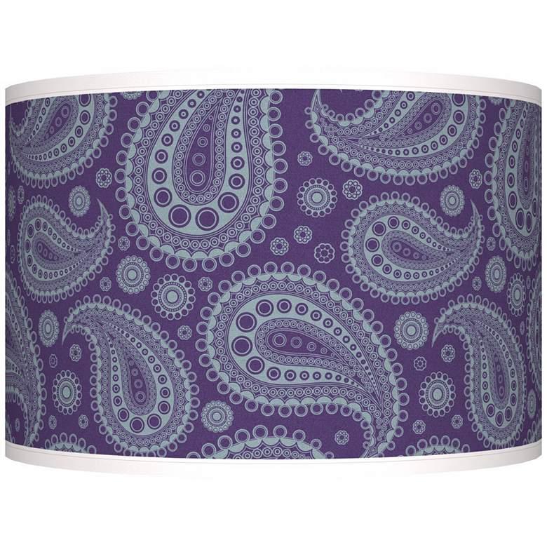 Purple Paisley Linen Giclee Shade 12x12x8.5 (Spider)