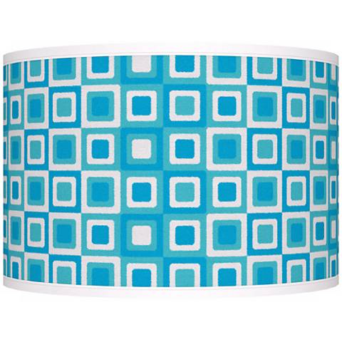 Blue Boxes Linen Giclee Shade 12x12x8.5 (Spider)