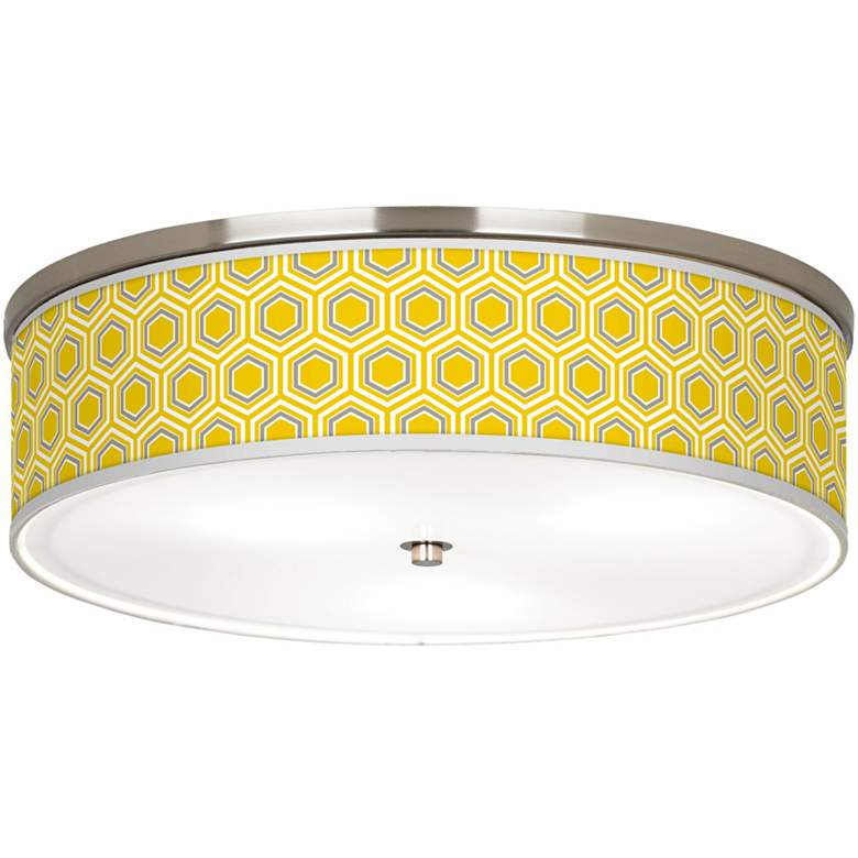 "Honeycomb Giclee Nickel 20 1/4"" Wide Ceiling Light"