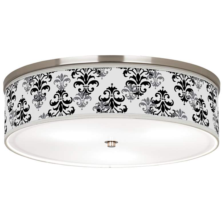 """Damask Shadow Giclee Nickel 20 1/4"""" Wide Ceiling Light"""