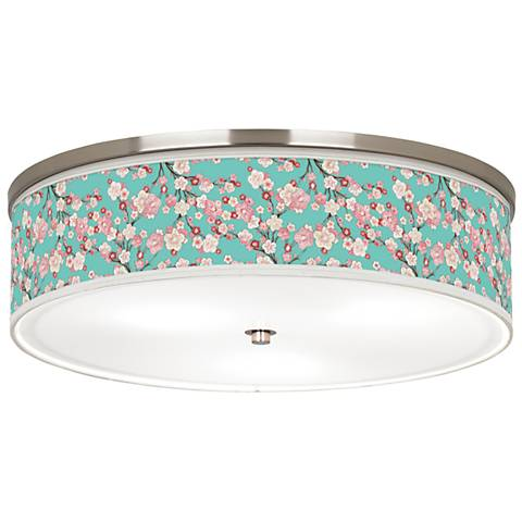 """Cherry Blossoms Giclee Nickel 20 1/4"""" Wide Ceiling Light"""